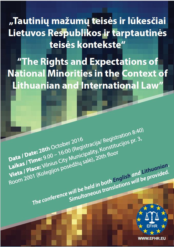 EFHR kviečia į konferenciją, skirtą tautinių mažumų teisių Lietuvoje apžvalgai